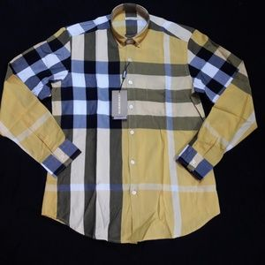 BURBERRY BRIT YELLOW SHIRT %100 COTTON NWT CASUAL